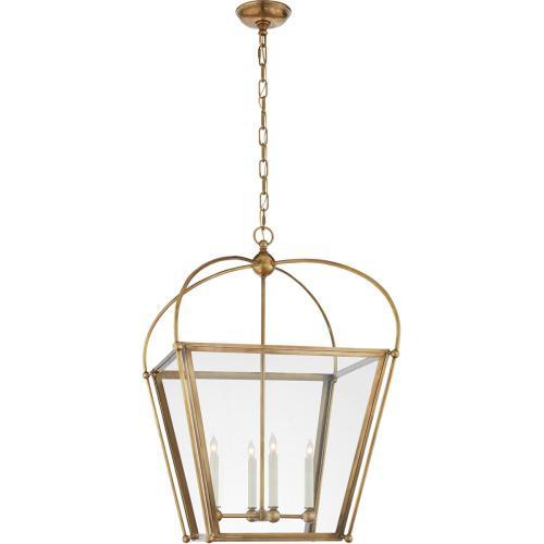 Visual Comfort CHC3439AB-CG E. F. Chapman Plantation 4 Light 21 inch Antique Burnished Brass Foyer Lantern Ceiling Light in Antique-Burnished Brass, E.F. Chapman, Medium, Clear Glass
