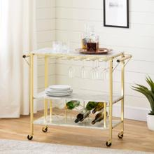 Bar Cart - Faux Marble and Gold