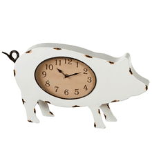 Black & White Enamel Pig Clock