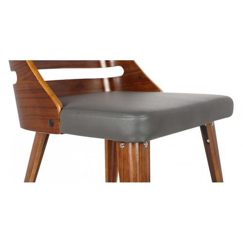 Armen Living Storm Mid-Century Dining Chair in Walnut Wood and Gray Pu