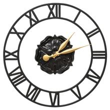 """Product Image - Rosette Floating Ring 21"""" Indoor Outdoor Wall Clock - Black"""