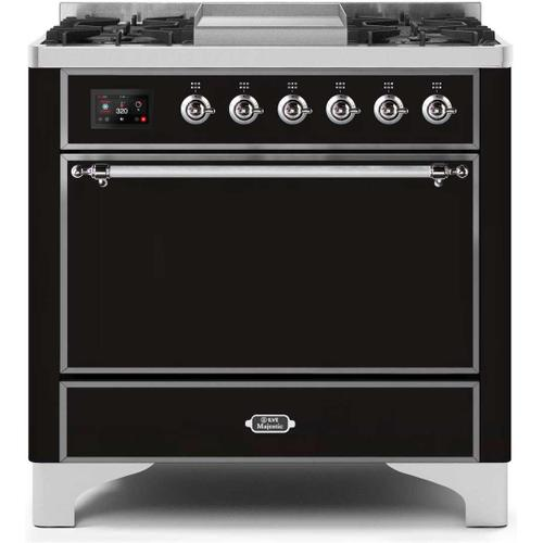 Gallery - Majestic II 36 Inch Dual Fuel Natural Gas Freestanding Range in Glossy Black with Chrome Trim