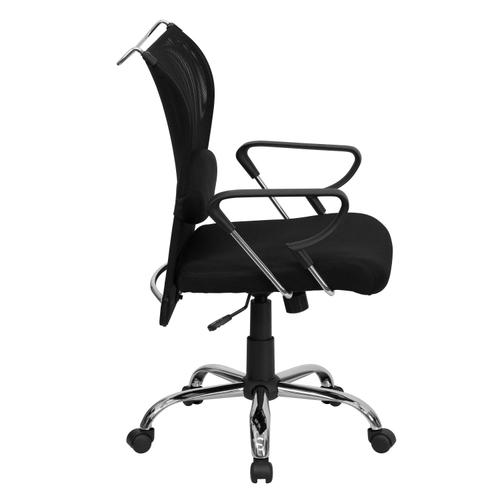 Gallery - Mid-Back Black Mesh Swivel Manager's Office Chair with Adjustable Lumbar Support and Arms