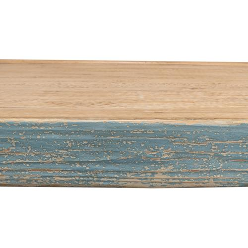 Large Wood Panel Coffee Tbl,Ant.Blue Wsh