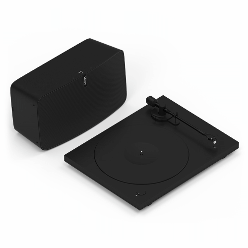 Gallery - Black- Go from spinning to streaming with these essentials. Includes Sonos Play:5, Pro-Ject Essential III Phono, and adapter cable.
