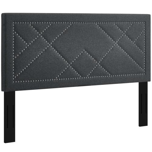 Modway - Reese Nailhead Full / Queen Upholstered Linen Fabric Headboard in Gray