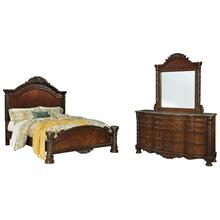 King Panel Bed With Mirrored Dresser