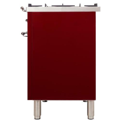 Nostalgie 60 Inch Dual Fuel Liquid Propane Freestanding Range in Burgundy with Chrome Trim