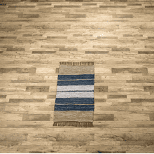 See Details - Blue Striped Leather Chindi 2x3 Rug (Each One Will Vary)