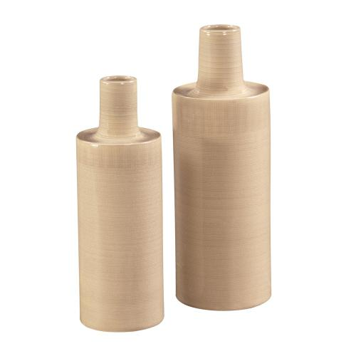 Cream Glaze w/ Crosshatch Detail Ceramic Vases - Set of 2