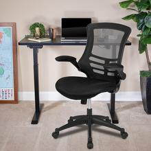 "48""W x 24""D Black Electric Height Adjustable Stand Up Desk with Black Mesh Swivel Ergonomic Task Office Chair"