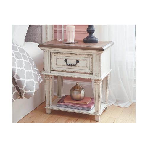 Realyn One Drawer Night Stand Chipped White