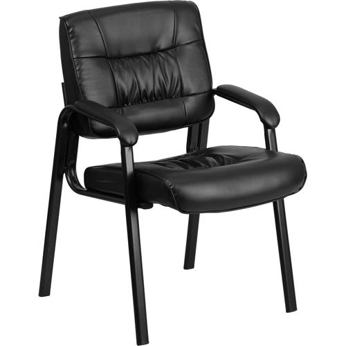 Gallery - Black LeatherSoft Executive Side Reception Chair with Black Metal Frame