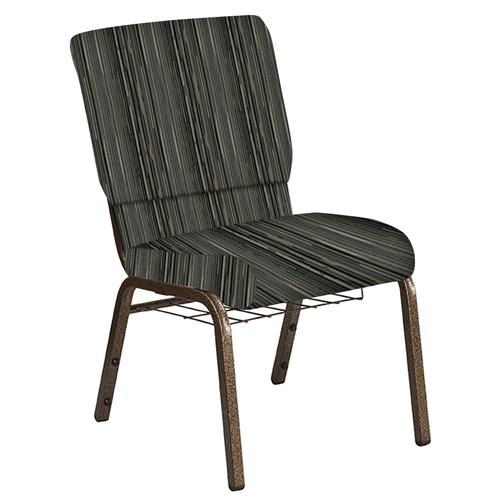 Flash Furniture - 18.5''W Church Chair in Canyon Pewter Fabric with Book Rack - Gold Vein Frame