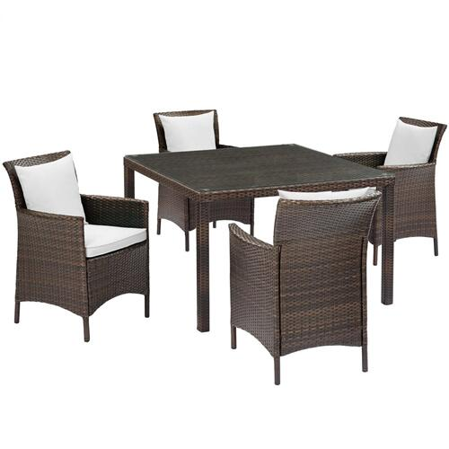 Conduit 5 Piece Outdoor Patio Wicker Rattan Set in Brown White