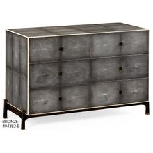Faux anthracite shagreen low chest with bronze base