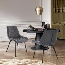 View Product - Loralie Gray Faux Leather and Black Metal Dining Chairs - Set of 2