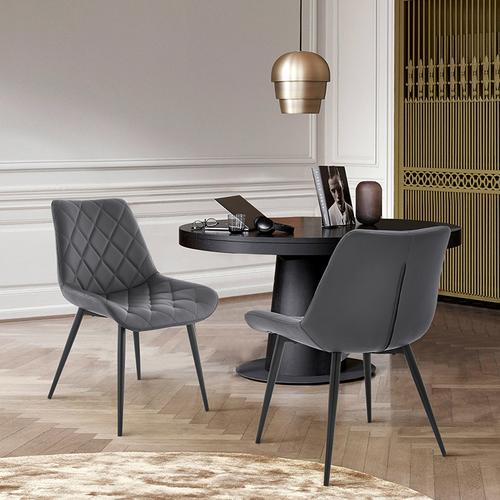 Armen Living - Loralie Gray Faux Leather and Black Metal Dining Chairs - Set of 2