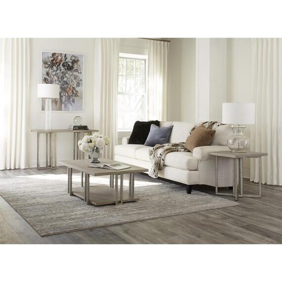 Riverside - Adelyn - Rectangular Side Table - Crema Gray Finish