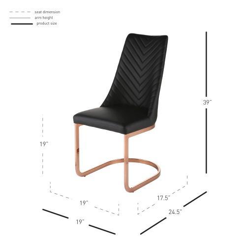 Kyla KD PU Dining Side Chair Rose Gold Legs, Black