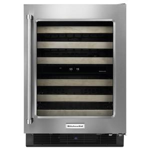 "Kitchenaid24"" Wine Cellar with Glass Door and Wood-Front Racks - Stainless Steel"