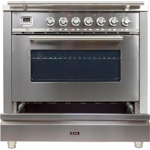 Professional Plus 36 Inch Dual Fuel Liquid Propane Freestanding Range in Stainless Steel with Chrome Trim
