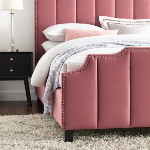 Lucille Queen Performance Velvet Platform Bed in Dusty Rose