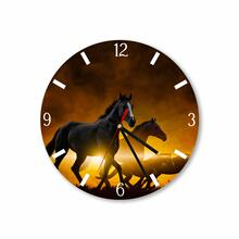 Three Horses With Gold Background Round Acrylic Wall Clock