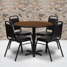 Product Image - 36'' Round Walnut Laminate Table Set with X-Base and 4 Black Trapezoidal Back Banquet Chairs