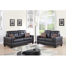 Ramla 2pc Loveseat & Sofa Set, Espresso-faux-leather