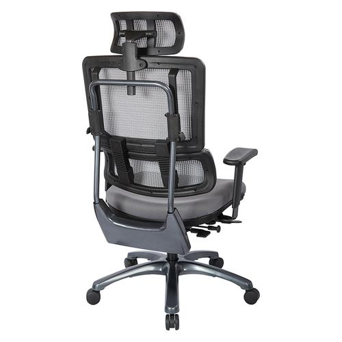Vertical Grey Mesh Back Chair With Titanium Base With Headrest
