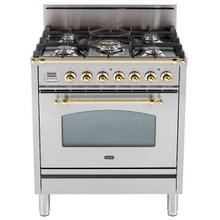 Nostalgie 30 Inch Gas Natural Gas Freestanding Range in Stainless Steel with Brass Trim