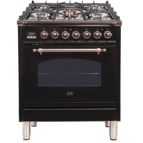Nostalgie 30 Inch Dual Fuel Liquid Propane Freestanding Range in Glossy Black with Bronze Trim