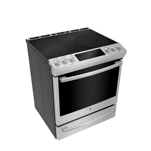 "GE Profile 30"" Slide-In Self-Clean Electric Range with WiFi Connect Stainless Steel - PCS940YMFS"