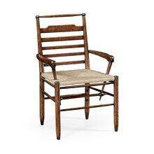 Dark oak ladder back country chair with rush seat (Arm)