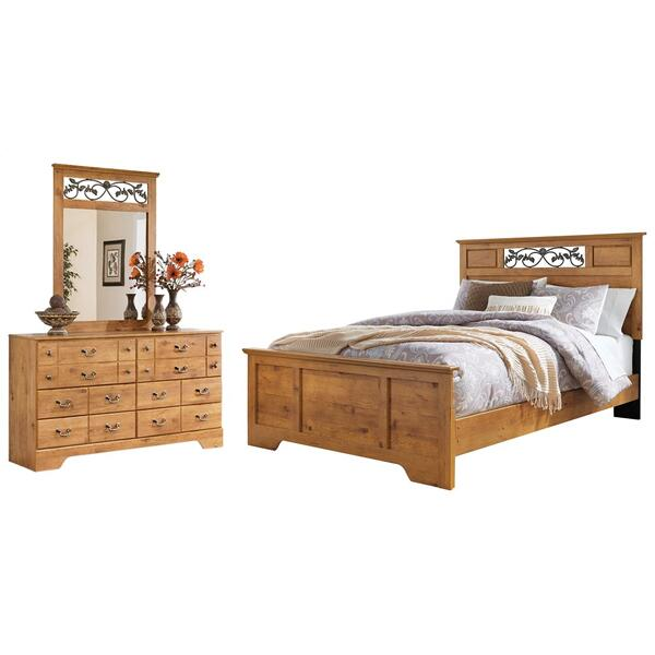 See Details - Queen Panel Bed With Mirrored Dresser