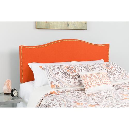 Lexington Upholstered Twin Size Headboard with Accent Nail Trim in Orange Fabric