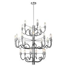 24lt Chandelier, Satin Chrome & Matte Black Finish