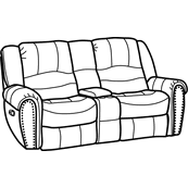 Hometown Fabric Gliding Reclining Loveseat with Console