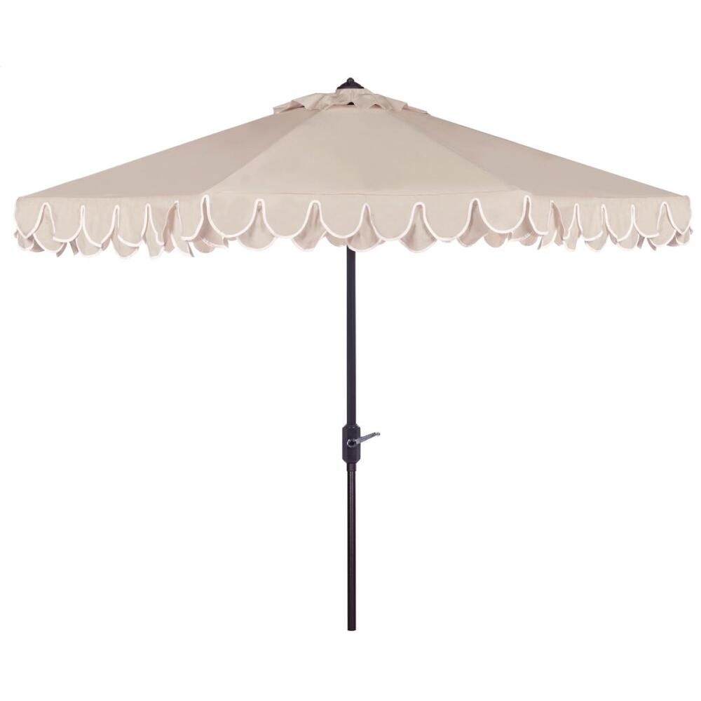 Elegant Valance 9ft Umbrella - Beige / White