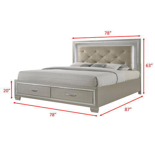 Elements - Platinum King Platform Storage Bed