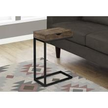 ACCENT TABLE - BROWN RECLAIMED WOOD-LOOK / BLACK / DRAWER