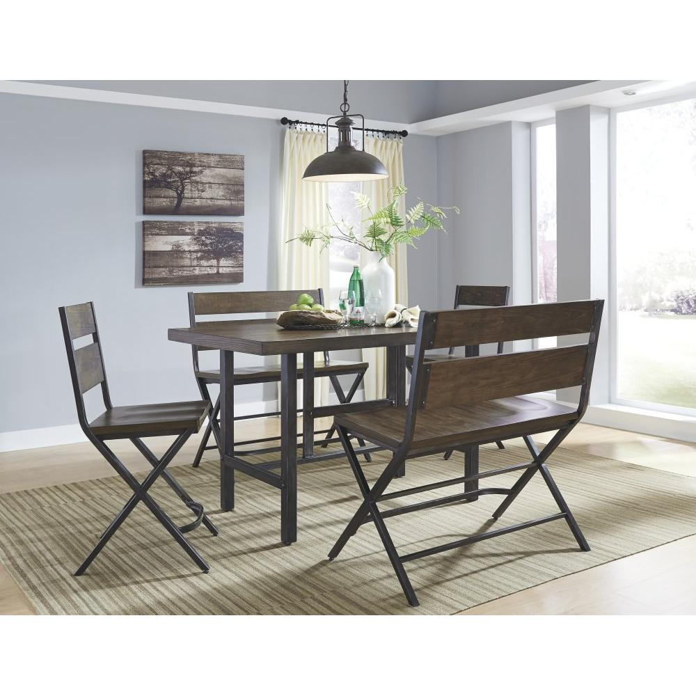Counter Height Dining Table and 2 Barstools and 2 Benches