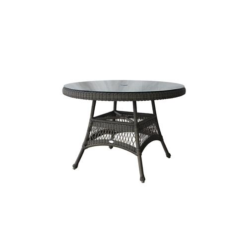"English Bay Deluxe 42"" Round Table w/Clear Glass & Umbrella Hole"