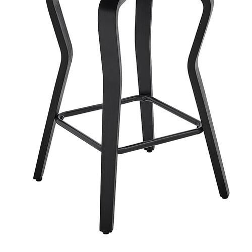 """Verne 26"""" Swivel Gray Faux Leather and Black Wood Bar Stool"""