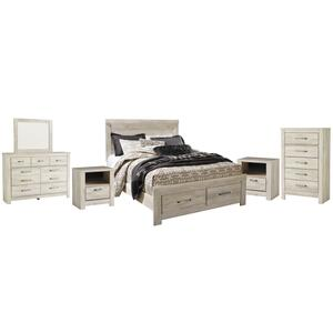 Queen Platform Bed With 2 Storage Drawers With Mirrored Dresser, Chest and 2 Nightstands