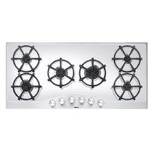 "Stainless Steel/White Glass 45"" Gas Cooktop - DGCU (45"" wide, six burners)"