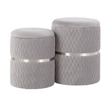 Cinch Nesting Ottoman Set - Chrome, Silver Velvet