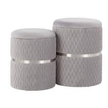 See Details - Cinch Nesting Ottoman Set - Chrome, Silver Velvet