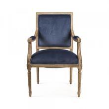 Blue Velvet Louis Arm Chair
